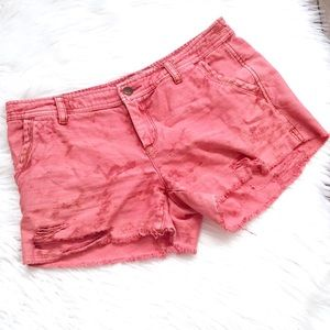 Free People Pink Distressed Cut Off Denim Shorts